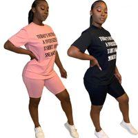 Tshirt Şort Eşofman Mektup Baskı Kısa Kollu Katı Renk Şort Moda Iki Parçalı Set Bayanlar Rahat