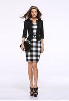 E Sandy New Gonne Gonne Hip Wrap Work Office Dress Business Abiti professionali Delle Donne Vestito Vestiti Plaid Bodycone
