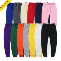 Erkek Siyah Pantolon Sweatpants Kırmızı Pantolon Moda Kadın Beyaz Rahat Sonbahar Kış Polar Jogger Sıcak Dış Giyim Tutun