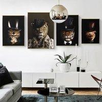 Pinturas Animais em chapéus Pintura de lona Leão Elefante Urso Gorila Pôsteres e Impressões Arte Da Parede Fotos para sala de estar Decoração de casa