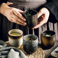 Кубок тарелки 150 и 200 мл Китайский ретро стиль ручной работы цветная глазурь Высокотемпературный стрельба керамический чайный чай
