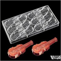 Moldes Bakeware Cozinha, Bar de Jantar Home Garden Gotas 2021 DIY Guitarra Policarbonato Molde de Chocolate Plástico Violino Choco Bolo Molde