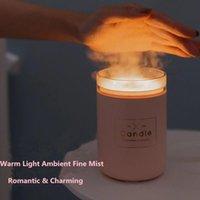 Ultrasonik Hava Nemlendirici Mum Romantik Yumuşak Işık USB Uçucu Yağ Difüzör Araba Arıtma Aroma Anion Mist Maker 280ml RT56 Nemlendiriciler