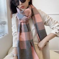 2021デザイナースカーフシルクラップカシミヤパシュミナの高級ファッションチェック柄スカーフメンズレディースカジュアル暖かい古典的な冬の縞Shal Sciarpa