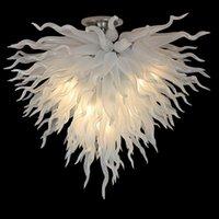 100% bocca soffiata in vetro di murano lampadario lampadario LED sorgente 110v 240 v bianco appeso per la camera da letto decor lampadari