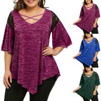 T Shirt Womens Fashion Plus Size Flare Lace Asymmetrical Splicing Tunic Tops Ladies Large Cross Irregular Ruffle Tshirt