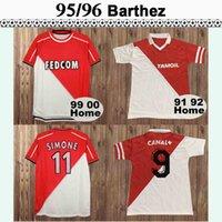 1995 1996 1997 1999 2000 1977 1982 Monaco Club Futebol Jerseys Barthez Retro Mens Ben Yedder Emtel Casa Vermelho Branco Futebol Camisetas