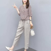New 2020 Summer Single Causal Suits Fashion Striped Short Sleeve Loose Two Piece Sets Middle Aged Women Outfits Tracksuits W251 X0428