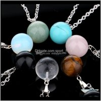 Estilo esférico natural piedra amatista cristal azul turquesa colgante collar collar 7 estilos para mujeres y hombres ervty 3b2qx