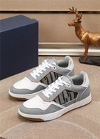 Designer Luxury Casual Shoes B27 LOW-TOP SNEAKER Gray and White Smooth Calfskin with Beige and Black Shoe With Original Box
