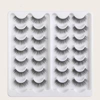 False Eyelashes 14 Pairs Faux Sable Hair Long Thick Extension Cosmetics Makeup Tool