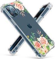 작은 꽃 투명한 맑은 부드러운 부드러운 가짜 TPU 전화 케이스 아이폰 12 11 프로 최대 XR XS 8 7 6 플러스 미니 공기 갑옷 풍부한 꽃 코브
