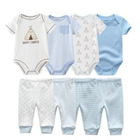 Born Unisex Baby Boy Girl Bodysuits Set Short Sleeve Cotton Soft Infant Bodysuits+Pants 0-12M Clothing Ropa Sets