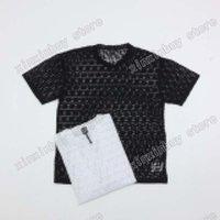 21SS Uomo stampato T-shirt Designer Paris See-through lettera jacquard tessuto vestiti manica corta uomo camicia tag bianco nero