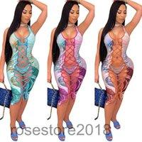 2021 kadın Eşofman Moda Baskılı Bikini Bandaj Üst Üç Parçalı Bölünmüş Mayo Tasarımcı Seksi Sling Thong Biquini ile Gazlı Bez Elbise Oymak