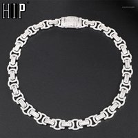 Box Hip Hop 14MM Buckle Byzantine Baguette Bling Iced Out CZ Copper Setting + Cubic Zirconia Stones Chain For Men JewelrSYH0