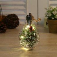 LED Transparante Lichtgevende Bal Kerst Ornamenten Creatieve Simulatie Gloeilamp Kerstboom Hanger Plastic Bal NHD9828