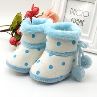 First Walkers TELOTUNY Baby Shoes Girls Boys Soft Booties Snow Boots Infant Polka Dot Hair Ball Toddler Born Plus Velvet Warming