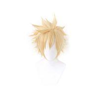 Final Fantasy VII 7 Bulut Çekme Cosplay Peruk Kısa Altın Sarışın Yüksek Sıcaklık Fiber Postiş Anime Kostüm Peruk + Peruk Kap