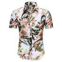 Erkek Casual Gömlek Yaz Erkek Hawaii Gömlek Çiçek Baskılı Plaj Bluz Adam Kısa Kollu Turn-down Yaka Bohemia Streetwear