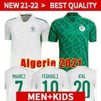 Vista fãs Versão Algerie 2021 Home Away Jerseys de Futebol 21 22 Mahrez Feghouli Bennacer Atal 20 21 Argélia Kits de Futebol Camisa Men + Crianças S