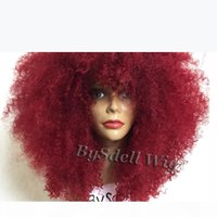 Sexy Lady Short Afro Kinky Curly Hair Wig with Fluffy Bangs Synthetic Dark Burgundy Red Color Hair Lace Front Wigs for Black Woman