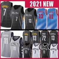 Kevin 7 Durant 11 Irving Basketball Jersey Mens Kyrie 2020 2021 Nouvelle ville James 13 Harden Jerseys S-XXL Noir