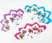 Mendil Renkler Crescent Baskılı Mendil Pamuk Çiçek Hankie Çiçek Işlemeli Mendil Renkli Bayanlar Cep Havlusu