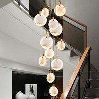 Pendant Lamps Gold LED Chandelier Modern Marble Lamp AC110V 220v Long Staircase Chandeliers Bar Lights