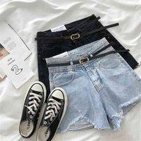 Жисилао высокая талия a-line джинсовые шорты женщины с поясом винтажные отверстие разорванные сексуальные короткие джинсы Femme лето широкая нога 210714