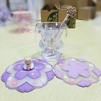 Limitierte Auflage Starbucks Nette lila Katzenfußpfotenbecher mit Untersetzerdeckeln und Rührstab Doppelwandglas Wasserflasche