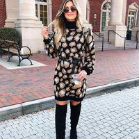 Casual Dresses Leopard Print Women's Winter Sweater Turtleneck Long Sleeve Women Autumn Loose Mini Dress Ladies Vestido