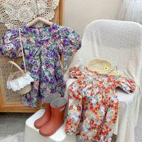 INS Kids girls flower dress Child princess summer puff sleeve Boutique Children Clothing