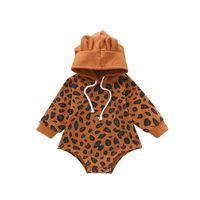 Baby Langarm Strampler Jungen Mädchen Leopard Print Mit Kapuze Jumpsuit Herbst Winter Kinder Creeper Multicolor Neues Muster 21ys J2