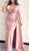 Women Sexy Deep V Neck Pink Long Sleeve Prom Evening Dress with Overskirt Appliques Satin Mermaid Party Gowns 2021