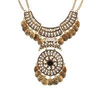 Donne Bohemian Tribal Vintage Coin Collana Collana Collana Gypsy Gypsy Coins Pendente Gem Gem Collane per gioielli