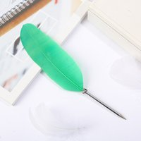 16colors Feather Quill Plastic Ballpoint Pen for Office Student Home Decor Wedding Gift Advertising Art