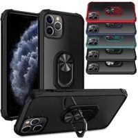 Armadura Transparente Caso de Choque ProvaPoção de Dedo Anel de Dedo Capa Carro Magnético Anti-Queda Kickstand para iPhone 12 11 x XR 6 7 8 Plus Samsung S10 S20