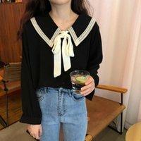 Женские блузки рубашки де -Ептаун Kawaii рубашка женщина винтажная элегантная красивая блузка с галстуком бабочка Корейский 2021 Mori девушка черная кнопка вверх