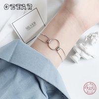 Tennis Obear 100% 925 Стерлингового серебра Геометрическая цепь Круг Снейки Костные браслеты для женщин Grils Корейский модный ювелирные изделия