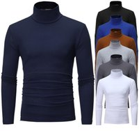 Men's T-Shirts 2021 Autumn Winter High Collar Design Simple Solid Color Long Sleeve T-shirt
