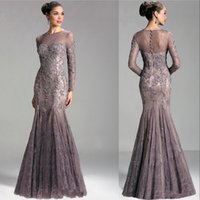 2021 Sexy Formal Mermaid Mother Of The Bride Dresses Jewel Neck Lace Appliques Beaded Long Sleeves Plus Size Evening Dress Wedding Guest Gowns