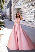 Party Dresses Pink Satin Prom Simple Sexy V Neck A Line Dress With Pockets Formal Women Gown Backless 2021
