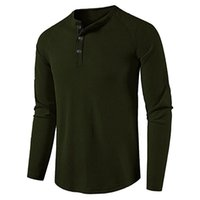 Men's T-Shirts Button Basic Solid Color Long Sleeve Oversized T-shirt Top Casual Pullover Tunics Slim Tee Shirt Camiseta Hombre