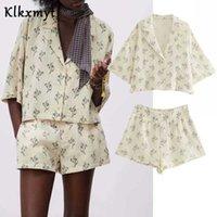 KLKXMYT ZA 2 Parça Set Kadın Şort S Baskı Kısa Kollu Gömlek Suit Kadın Yaz Kadın Kıyafet Rahat Tops 210527