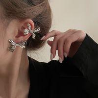 Bling Bling Metal Bow Stud Earrings Light Luxury Personality Ear Bone Clip Ear Clip Hairpin