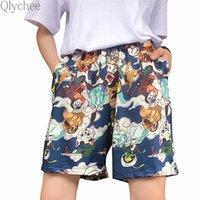Short de Femme's Short's Qlychee Dessin animé Ghure Gheton Femelle Haute Taille Élastique Poches droites Pantalon Court Summer Casual