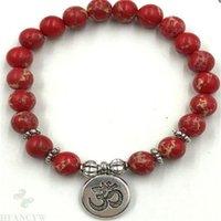 8mm Kırmızı Imperial Jasper Gemstone Mala Bilezik Lotus Kolye Sıkı Maneviyat Şanslı Dua Reiki Yoga Manşet Keşiş