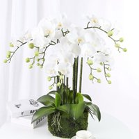 Decorative Flowers & Wreaths Real Touch 9-Heads Artificial Butterfly Orchid Latex Large Fake Phalaenopsis Silicon PU Party Wedding Home Deco