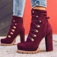 MCCKLE Women's Ankle Boots High Heels Platform Female Lace Up Women Shoes Buckle Woman Short Boot Botas Femininas Plus Size 210914